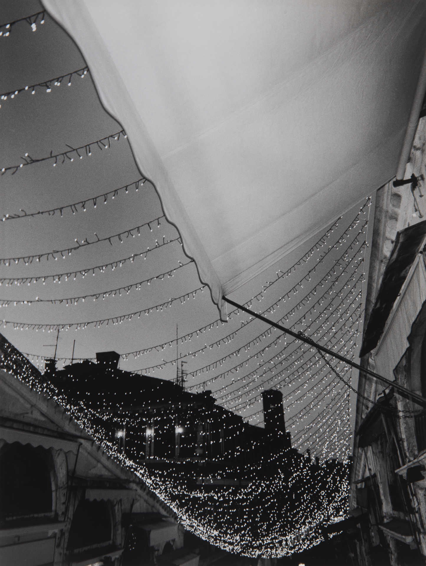 Awnings and Lights, Rialto Bridge - Venice, Italy
